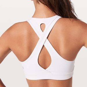 Lululemon White Time To Sweat Sports Bra Cross